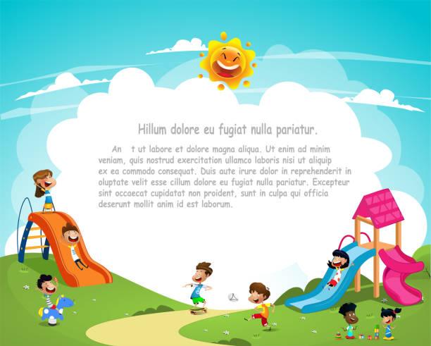 Cute cartoon children playing outside vector art illustration