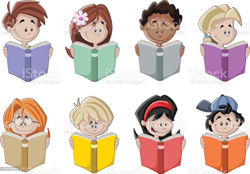 ilustração de bonito desenho de crianças lendo livro e mais banco de