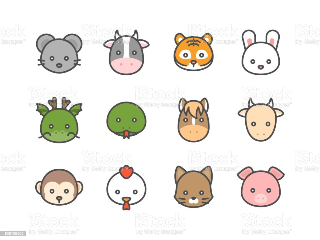 Cute cartoon Chinese zodiac filled icon, face of rat, cow, tiger, rabbit