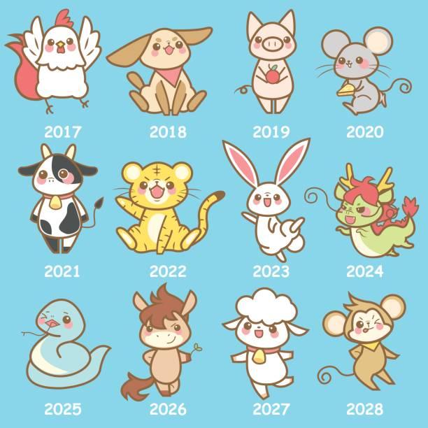 cute cartoon chinese zodiac - animals calendar stock illustrations, clip art, cartoons, & icons