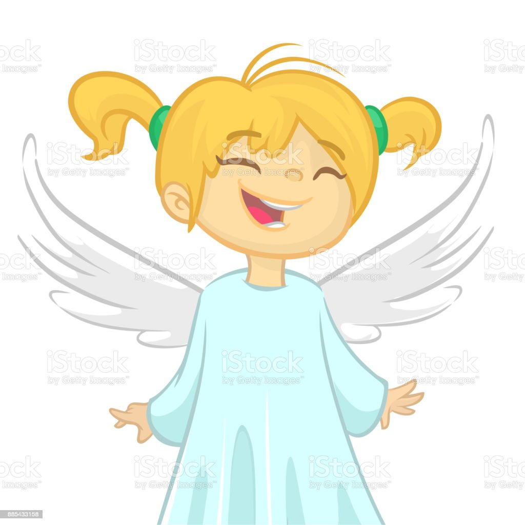 cute cartoon christmas angel holding a star vector illustration isolated design for print - A Christmas Angel