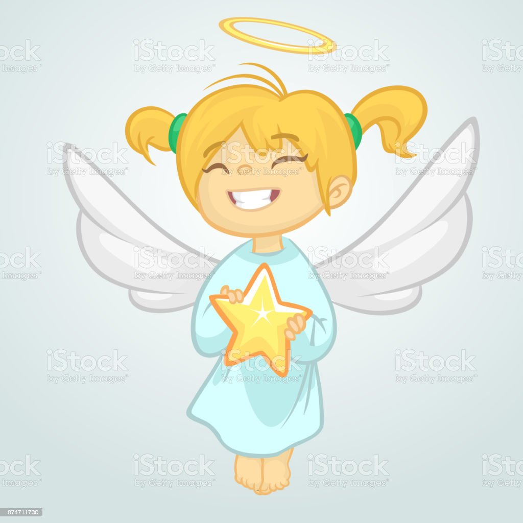 Ange De Noël De Dessin Animé Mignon Tenant Une étoile