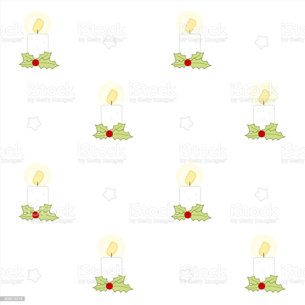 cute cartoon christmas candles seamless vector pattern background illustration with holly berry vector art illustration
