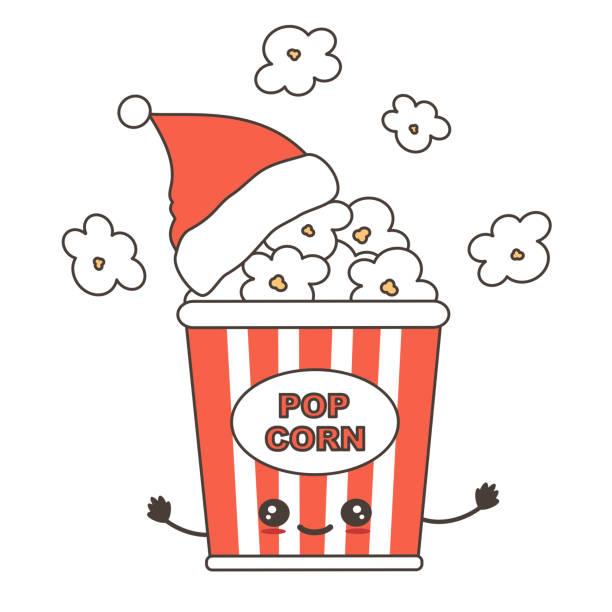 illustrazioni stock, clip art, cartoni animati e icone di tendenza di carino cartone animato natale carattere popcorn box con babbo natale cappello vacanze illustrazione vettoriale isolato su sfondo bianco - christmas movie