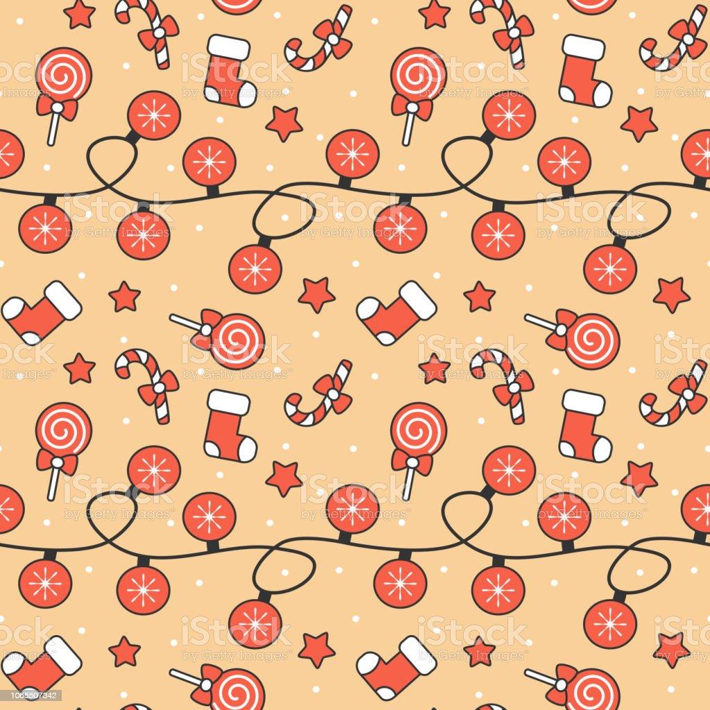 cute cartoon christmas elements seamless vector pattern background illustration vector art illustration
