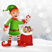 Cartoon, christmas, elf, gift, character, snow
