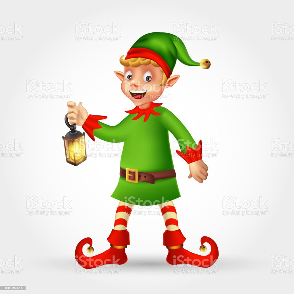 Cute Cartoon Christmas Elf Holding Christmas Lantern Isolated On ...
