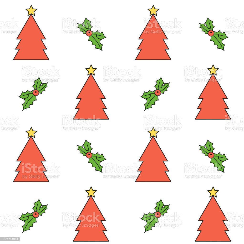 cute cartoon christmas seamless vector pattern background illustration with trees and holly vector art illustration