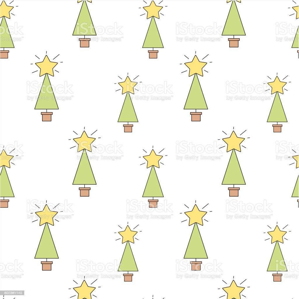 cute cartoon christmas tree seamless vector pattern background illustration vector art illustration