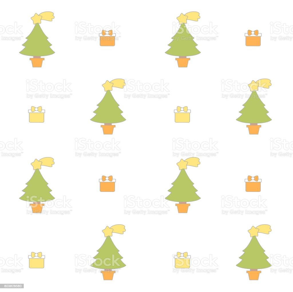cute cartoon christmas tree seamless vector pattern background holidays illustration with gift box vector art illustration