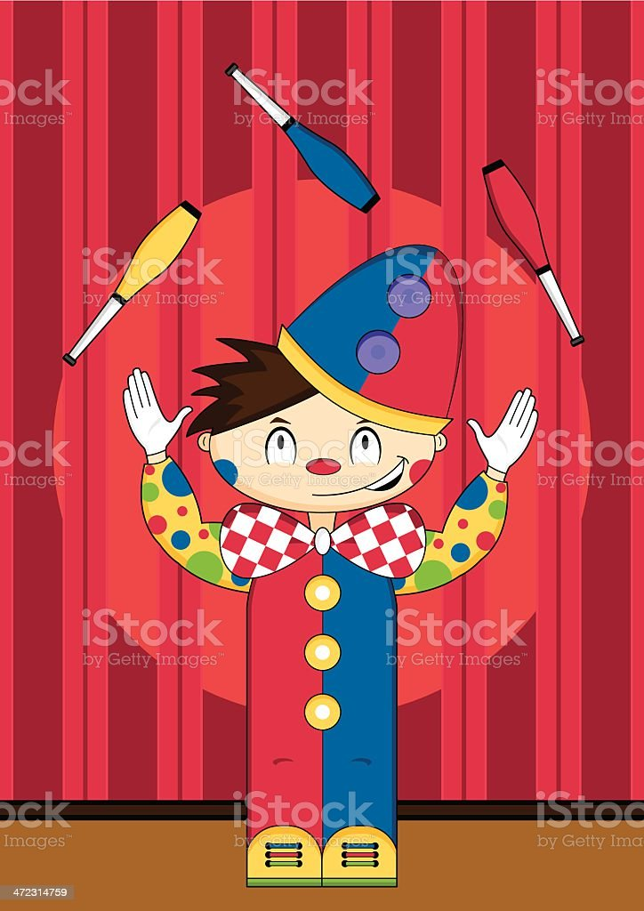 Cute Cartoon Circus Clown Scene royalty-free cute cartoon circus clown scene stock vector art & more images of arts culture and entertainment