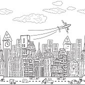 Cute Cartoon City - Seamless Pattern