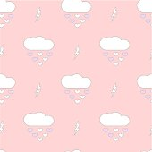 cute cartoon clouds drops hearts romantic and lovely seamless vector pattern background illustration