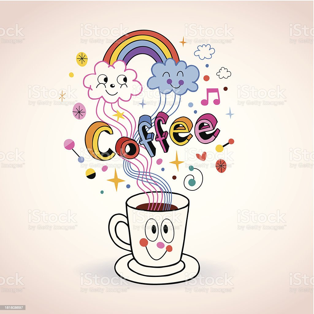 Cute cartoon coffee cup illustration royalty-free stock vector art