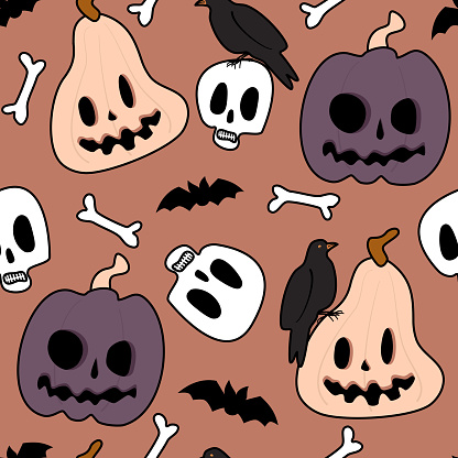 Cute cartoon colorful halloween seamless vector pattern background illustration with pumpkins, bones, skulls, bats and crows