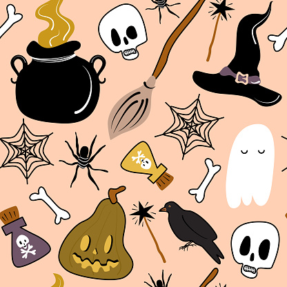 Cute cartoon colorful halloween seamless vector pattern background illustration with pumpkins, bones, skulls, potion, cauldron, ghost, broom, witch hat and crows