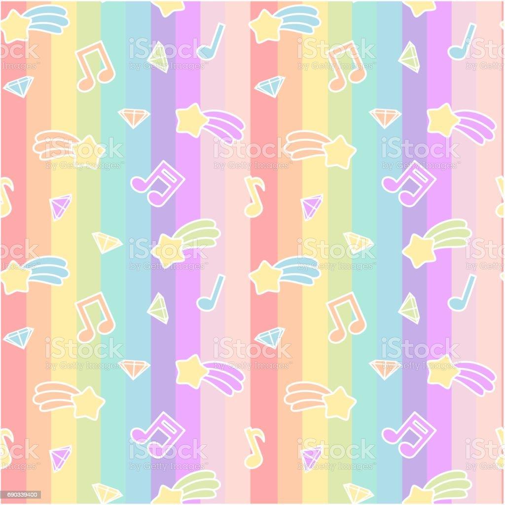 かわいい漫画のカラフルなミックス スター彗星音符と虹のストライプに