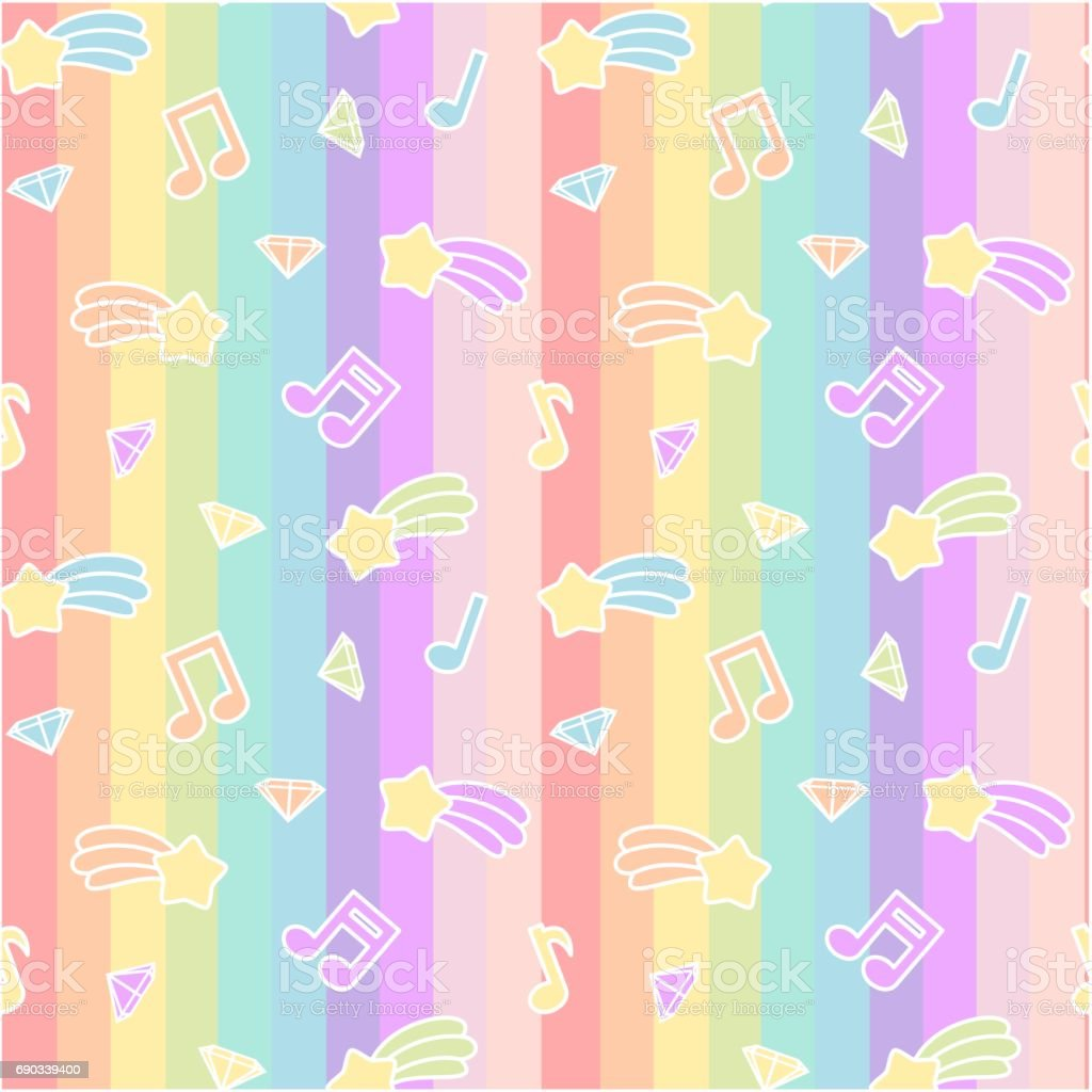 cute cartoon colorful mix seamless vector pattern background illustration with star comet, music notes and diamond on rainbow stripes vector art illustration