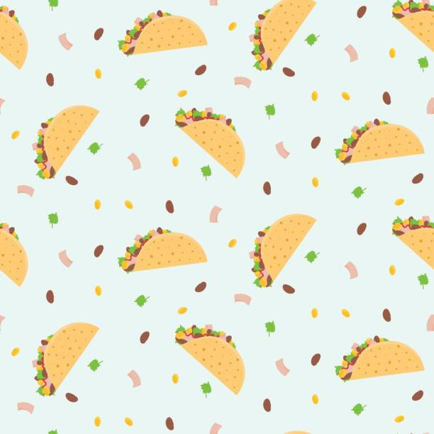 cute cartoon colorful seamless pattern with mexican tacos, corn, lettuce and kidney bean - taco stock illustrations, clip art, cartoons, & icons