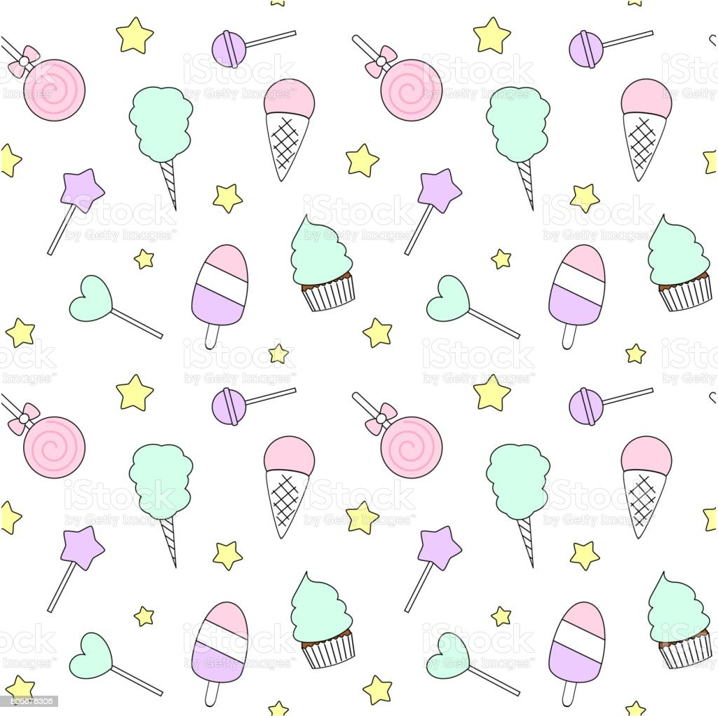 Pattern Cute Colorful Ice Cream Textiles Stock Vector: Cute Cartoon Colorful Seamless Vector Pattern With Candies
