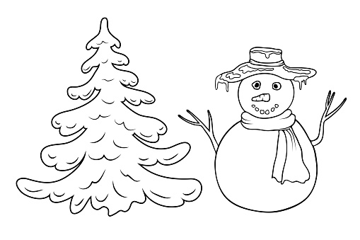 cute cartoon coloring snowman and fir tree outline silhouette isolated on white. Coloring page with snowman and fir or pine tree. black and white winter or christmas illustration for coloring book