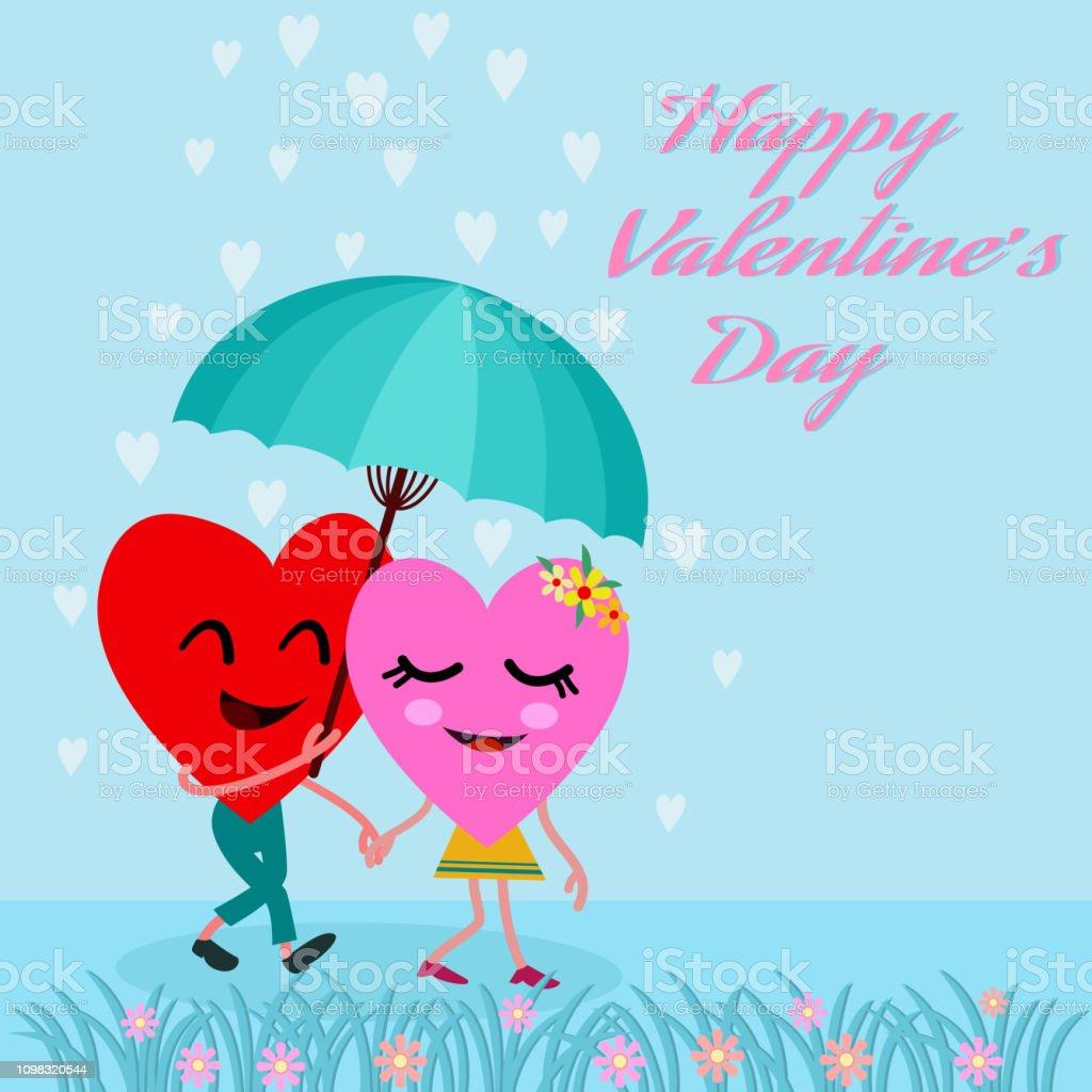 Cute Cartoon Couple Heart Walk In The Rain Stock Illustration