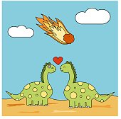 cute cartoon couple of dinosaurs in love during meteor strike funny concept vector illustration