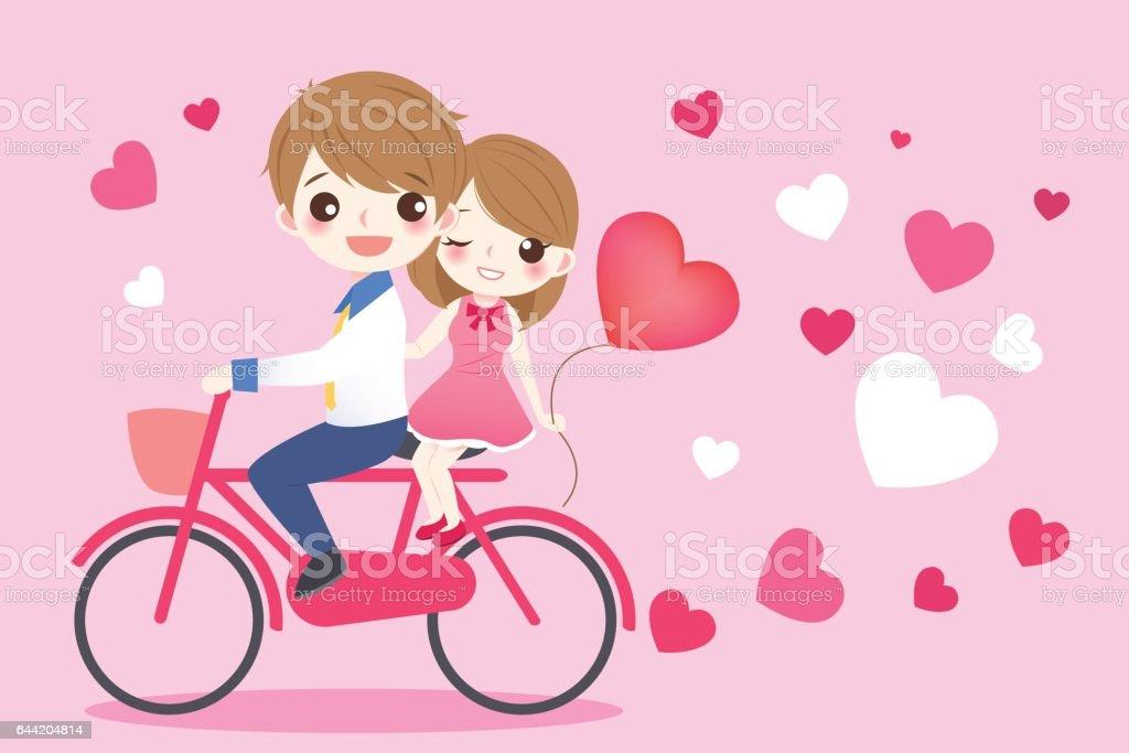 Dessin Anime Mignon Couple Balade Velo Cliparts Vectoriels Et Plus