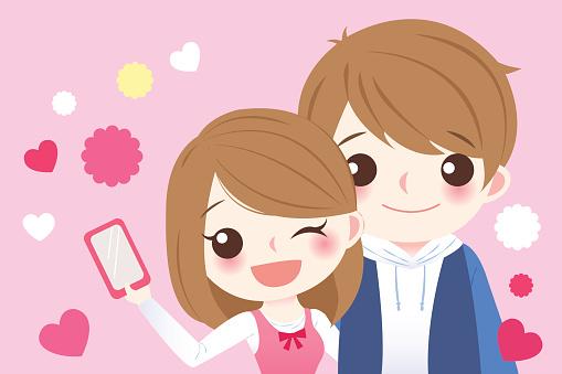 cute cartoon couple selfie