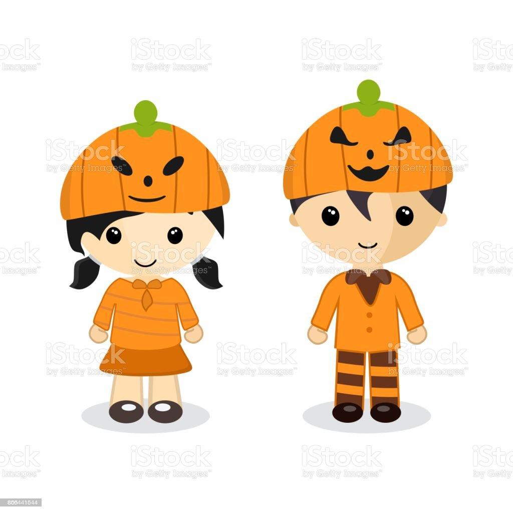 Halloween Pumpkin Cartoon Images.Cute Cartoon Couple Standing Wear A Pumpkin Hat On Halloween Night Character Boy Girl Vector Illustration Stock Illustration Download Image Now