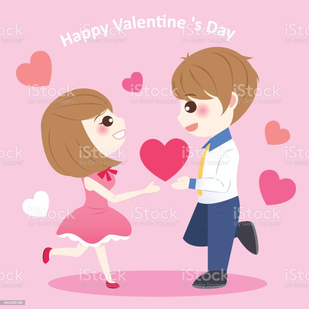 Cute Cartoon Couple With Heart Stock Illustration Download Image Now Istock