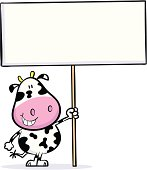 Cute cartoon cow holding up a blank sign