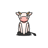 Cute cartoon cow toy character children vector illustration, sitting animal isolated on white background.