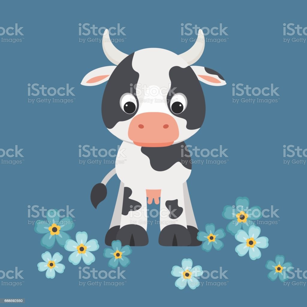 Cute cartoon cow vector art illustration