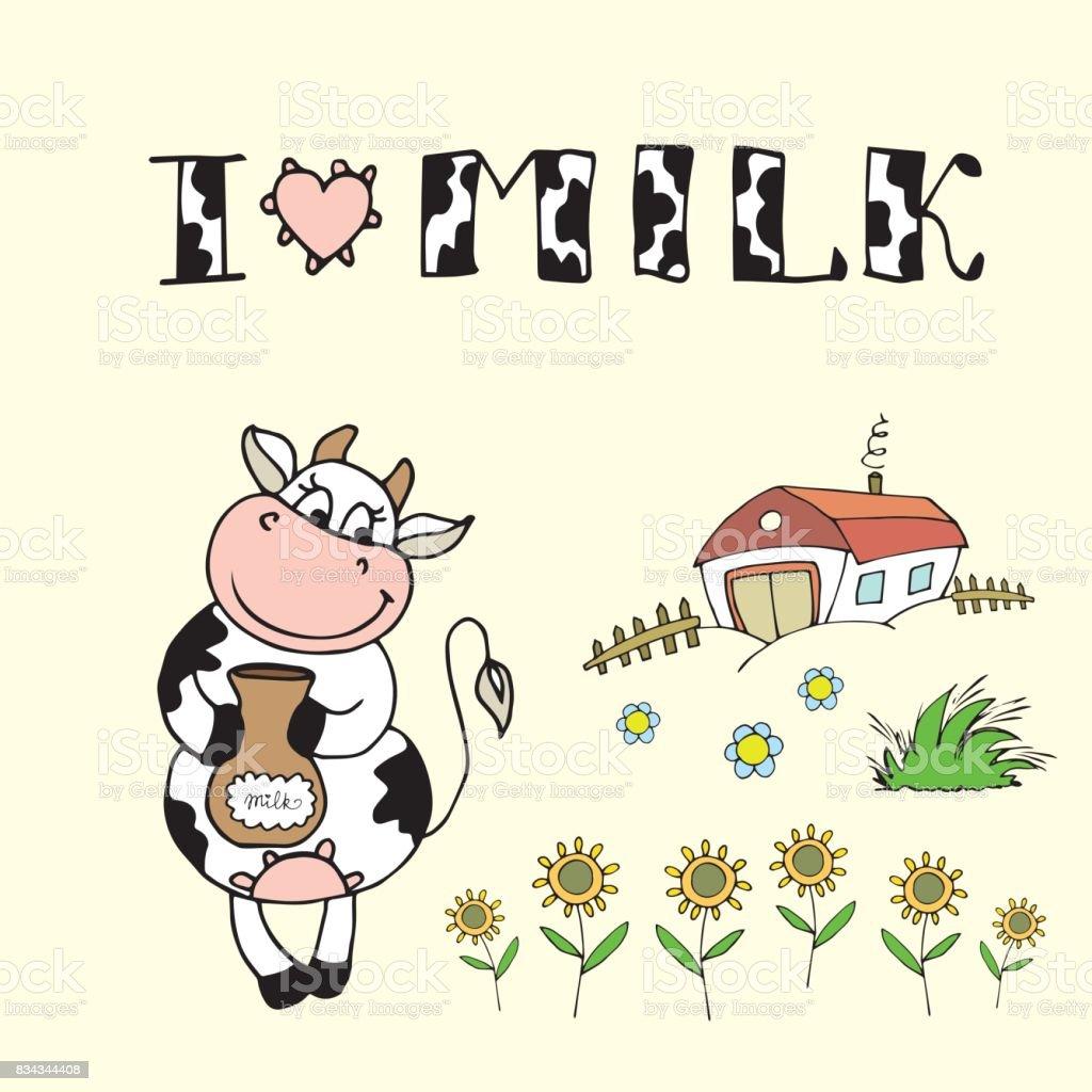 Ilustración de Vaca Cute Dibujos Animados Fondo De La Granja Y Me ...