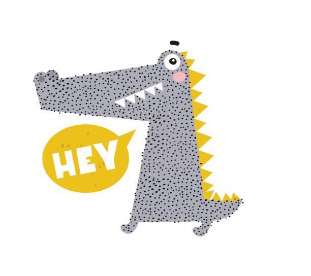Dibujos animados lindo cocodrilo. Impresión infantil para guardería, ropa de niños, cartel, postal. Ilustración de vector - ilustración de arte vectorial