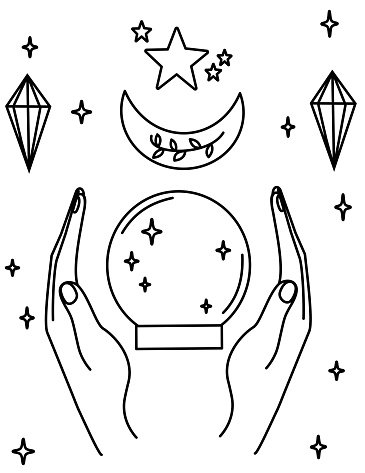 cute cartoon crystal ball, human hands, moon and stars black and white vector illustration for coloring art
