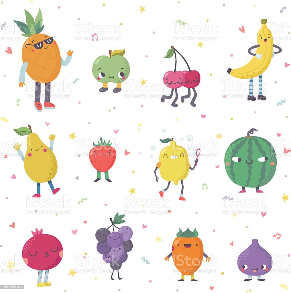 Cute cartoon cute fruits vector set. Funny characters. vector art illustration