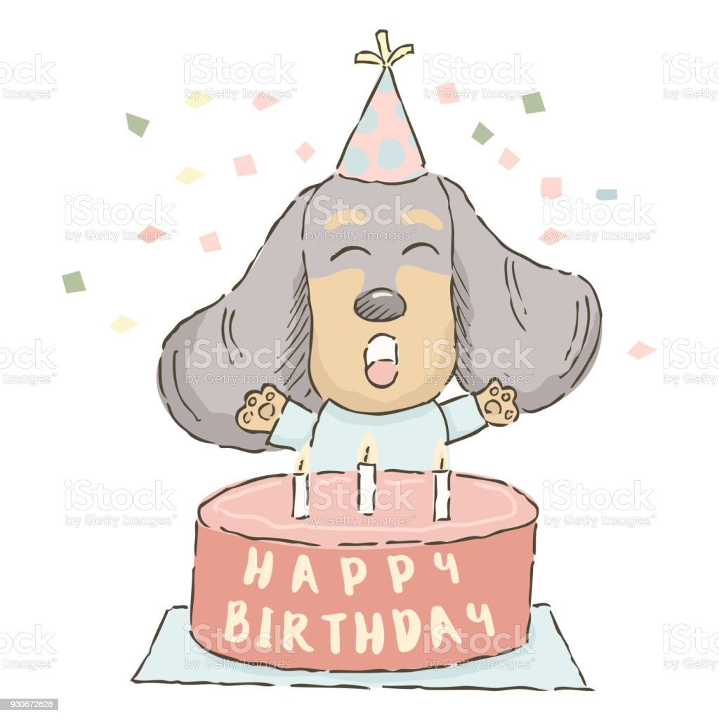 Cute Cartoon Dachshund With Birthday Cake Vector Stock Vector Art