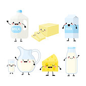 Cute cartoon dairy products characters vector illustration isolated on white background. Kawaii dairy products