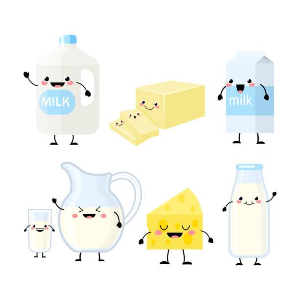 ilustrações de stock, clip art, desenhos animados e ícones de cute cartoon dairy products characters vector illustration - manteiga