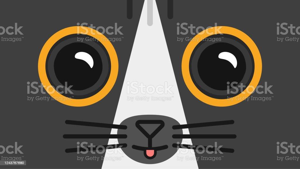 Cute Cartoon Dark Cat Face Wallpaper Stock Illustration Download