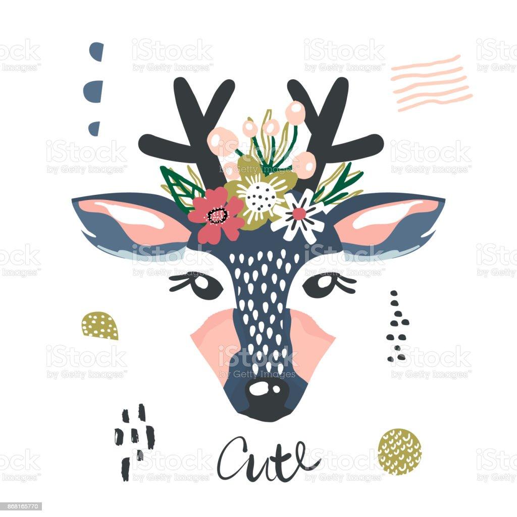 Cute Cartoon Dear Girl With Flowers On Head Childish Print For