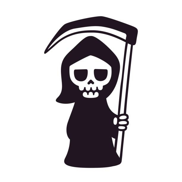 Cute cartoon death Cute death with scythe, isolated black and white drawing. Cartoon Grim Reaper vector illustration. death stock illustrations