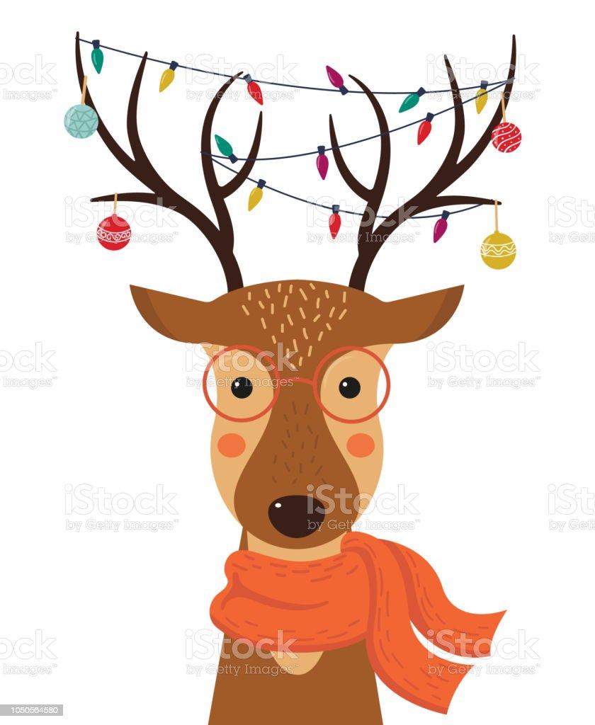 Niedlichen Cartoon Hirsch mit Weihnachten Spielzeug, Girlanden auf die Hörner und Schal. Frohe Weihnachten. Frohes neues Jahr. Vektor-Illustration. - Lizenzfrei Comic - Kunstwerk Vektorgrafik