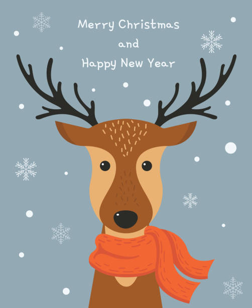 niedlichen cartoon hirsch mit schal. frohe weihnachten und happy new jahr kartendesign. vektor-illustration. - rentier stock-grafiken, -clipart, -cartoons und -symbole