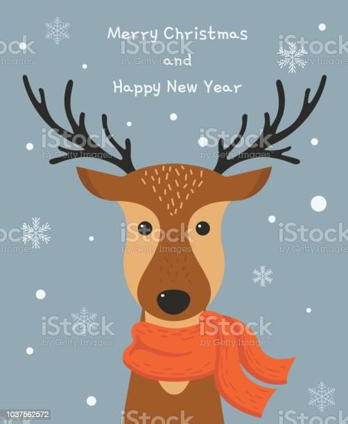Niedlichen Cartoon Hirsch Mit Schal Frohe Weihnachten Und Happy New Jahr Kartendesign Vektorillustration Stock Vektor Art und mehr Bilder von Comic - Kunstwerk