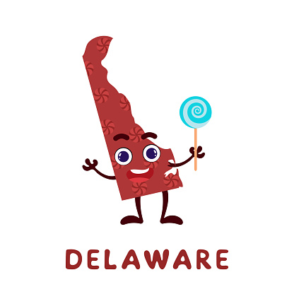 Cute cartoon Delaware state character clipart. Illustrated map of state of Delaware of USA with state name. Funny character design for kids game, sticker, cards, poster. Vector stock illustration.