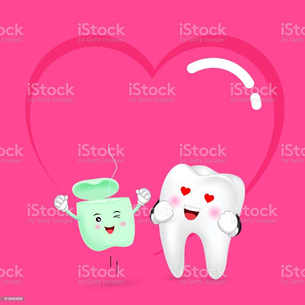 d31cb78f7 Fio dental bonito dos desenhos animados e dente no amor. vetor de fio  dental bonito