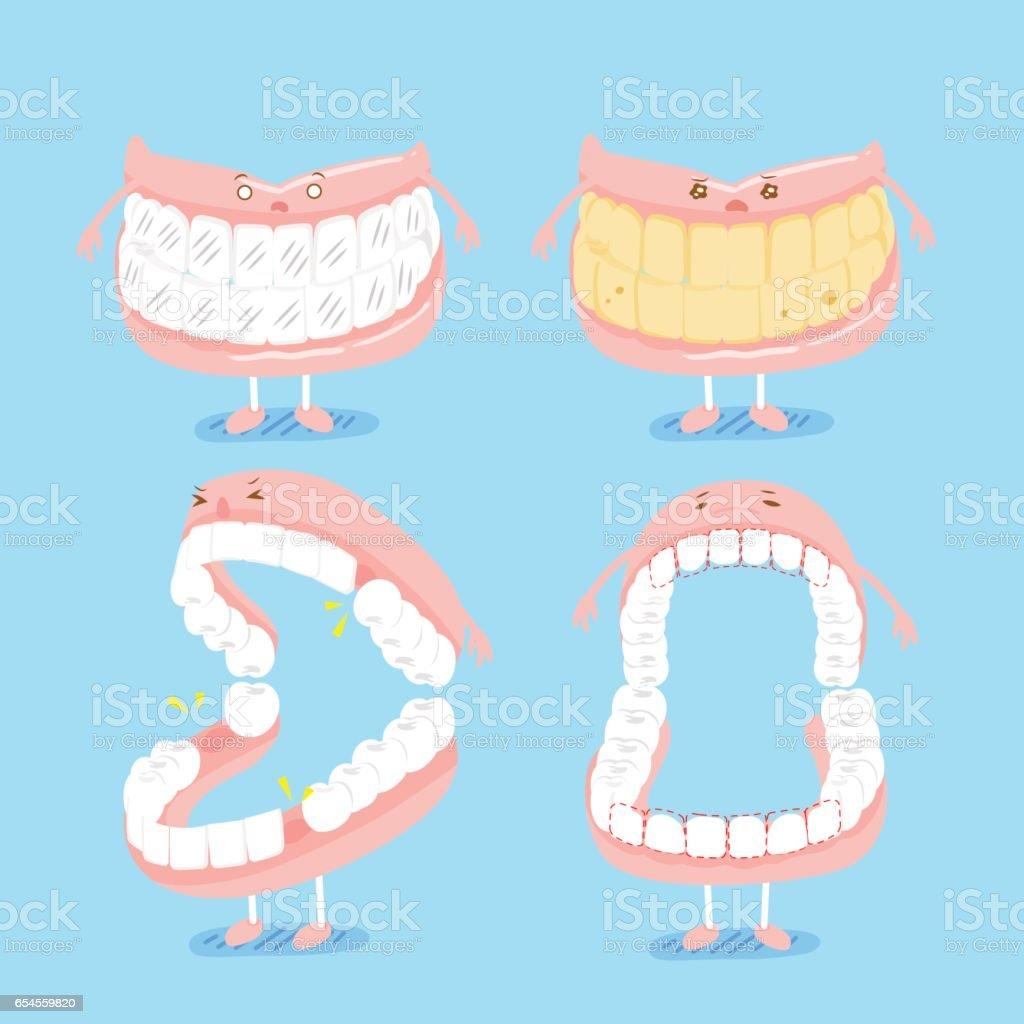 cute cartoon denture vector art illustration